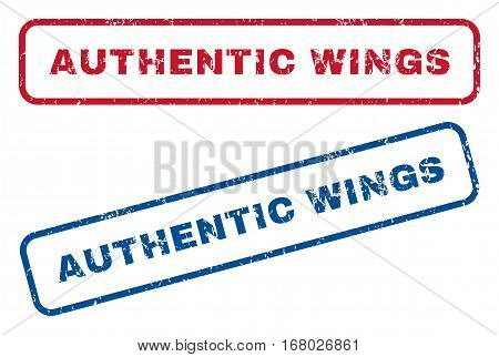 Authentic Wings text rubber seal stamp watermarks. Vector style is blue and red ink tag inside rounded rectangular banner. Grunge design and scratched texture. Blue and red emblems.