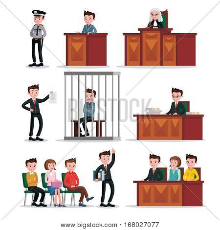 Judicial system icons set of judge lawyers policeman witnesses defendant and jury isolated vector illustration