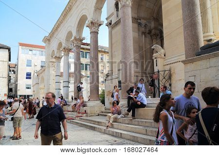 SPLIT, CROATIA - SEPTEMBER 11, 2016: Peristyle of Diocletian's Palace is a spectacular area with red granite pillars which can be the name of the heart of the Palace.