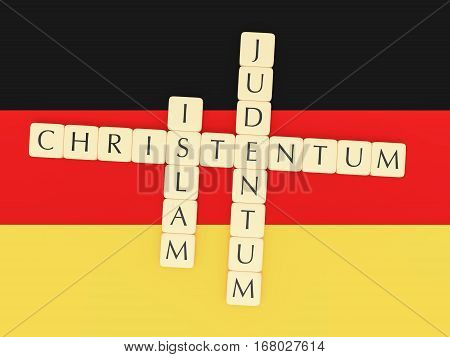 Religion In Germany Concept: Letter Tiles Creating The German Words Islam Judentum (Judaism) Christentum (Christianity) 3d illustration