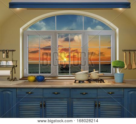 Interior blue kitchen. Preparing lunch at home on the kitchen stove with a view from the window navecherny sunset with a silhouette of the schooner