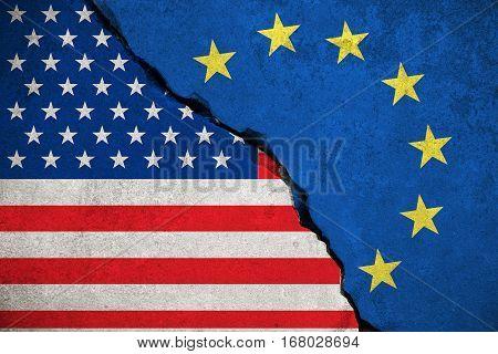 blue european union EU flag on broken wall and half usa united states of america flag crisis trump president and europe euro concept