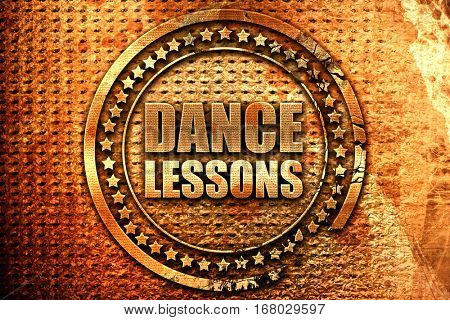 dance lessons, 3D rendering, grunge metal stamp
