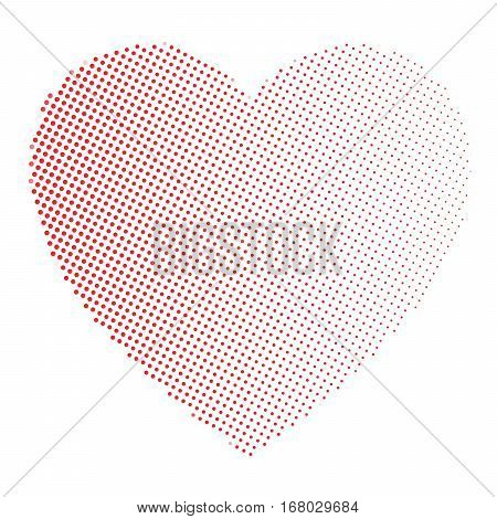 Dotted heart in linear arrangement. Valentine Day theme. Simple halftone gradient vector illustration.