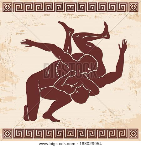 Greek style drawing.Two naked men fighting and national ornament.
