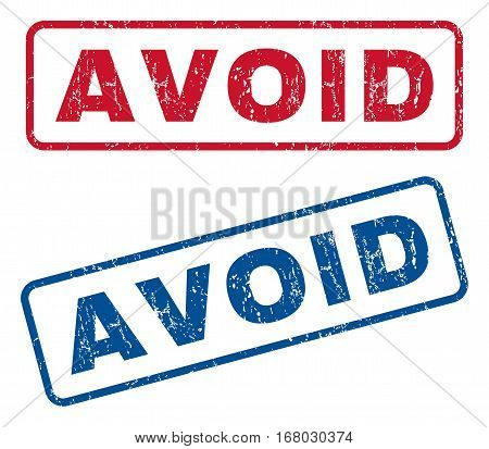 Avoid text rubber seal stamp watermarks. Vector style is blue and red ink caption inside rounded rectangular banner. Grunge design and scratched texture. Blue and red stickers.