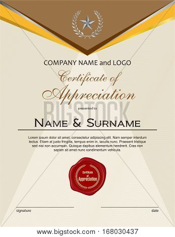 Certificate of Appreciation with wax seal portrait version