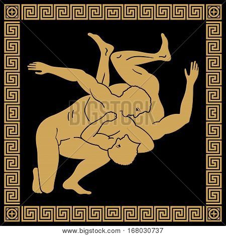 Greek style drawing. Naked running men with shield and helmet and national ornament. Gold drawing on a black background.