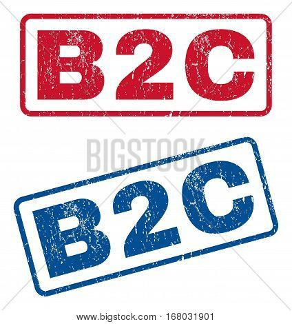 B2C text rubber seal stamp watermarks. Vector style is blue and red ink caption inside rounded rectangular banner. Grunge design and dust texture. Blue and red stickers.