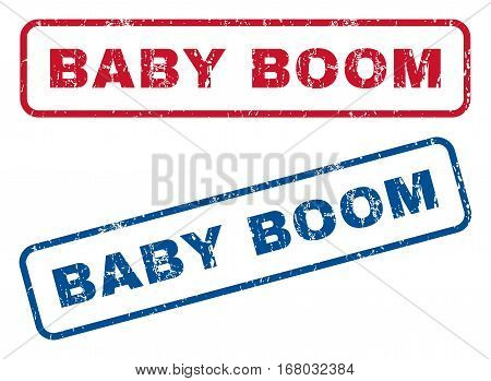 Baby Boom text rubber seal stamp watermarks. Vector style is blue and red ink tag inside rounded rectangular shape. Grunge design and dust texture. Blue and red signs.