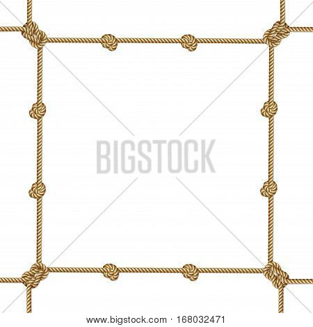 Yellow rope woven vector border with rope knots vector frame isolated on white