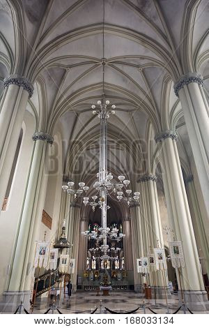 Ukraine, Lviv - December, 16, 2016: Interior of the Church of St. Olha and Elizabeth,  Lviv, Ukraine