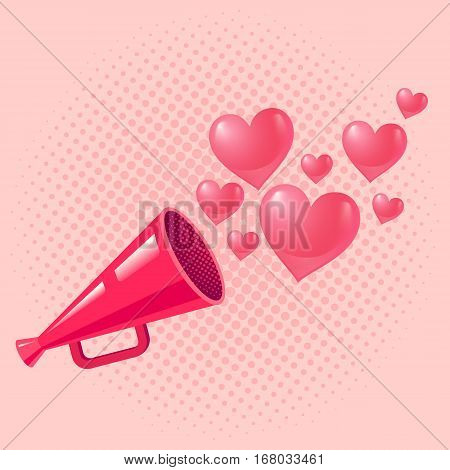 Vector vintage pink megaphone with hearts for Valentine's day. Pink megaphone.