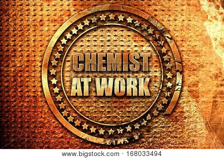 chemist at work, 3D rendering, grunge metal stamp
