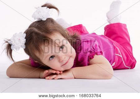 photo of cute little girl on white background