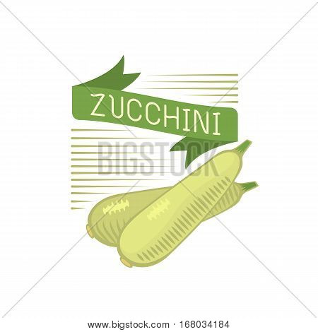 Fresh vegetable marrow decorated logo and cabbage green food label. Isolated healthy fresh zucchini harvest courgette organic ingredient.
