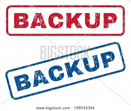 Backup text rubber seal stamp watermarks. Vector style is blue and red ink caption inside rounded rectangular shape. Grunge design and scratched texture. Blue and red emblems.