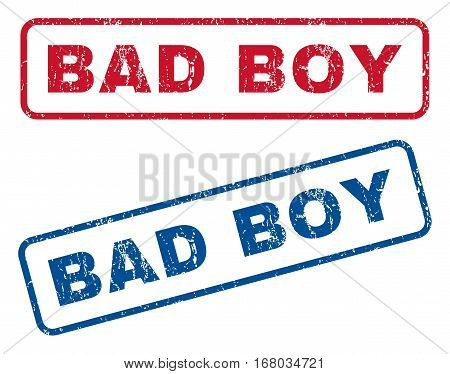 Bad Boy text rubber seal stamp watermarks. Vector style is blue and red ink caption inside rounded rectangular shape. Grunge design and scratched texture. Blue and red emblems.