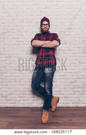 Full Portrait Of Confident Hipster  Man With Crossed Hands