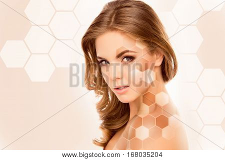 Young pretty woman face with different tones of skin