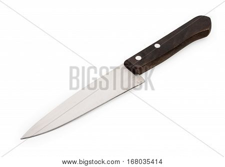 Chef's Kitchen Knife With Wooden Handle Isolated On White Background