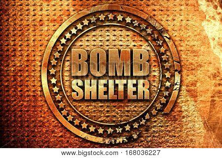 bomb shelter, 3D rendering, grunge metal stamp