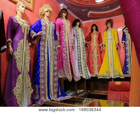 Bursa Turkey - February 28 2016: Mannequins in the Covered Bazaar with beautiful colorful gowns in the cental market in Bursa Turkey