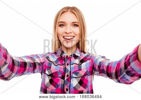 Happy Smiling Young Blonde Woman Making Selfie