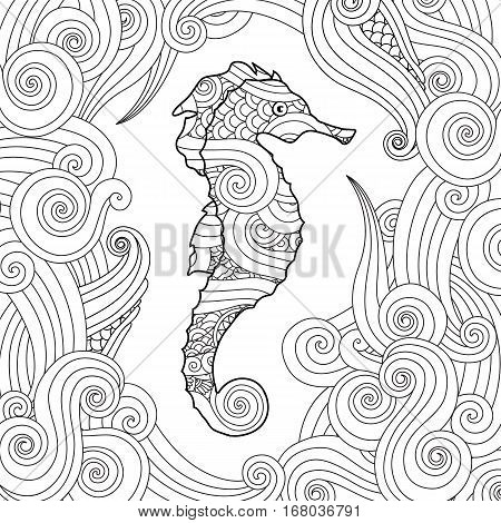 Hand drawn sketch of seahorse surrounded by waves in zentangle inspired style. Coloring book for adult and older children. Square composition. Art vector stylized illustration.