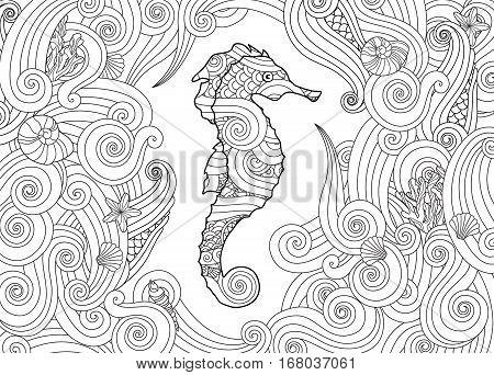 Hand drawn sketch of seahorse surrounded by waves in zentangle inspired style. Coloring book for adult and older children. Horizontal composition. Art vector stylized illustration.