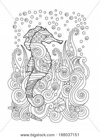 Hand drawn sketch of seahorse under the sea in zentangle inspired style. Coloring book for adult and older children. Vertical composition. Art vector stylized illustration.