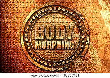 body morphing, 3D rendering, grunge metal stamp