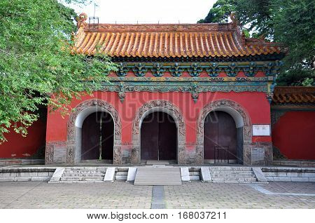Main Red Gate of Fuling Tomb of Qing Dynasty, Shenyang, China. Fuling Tomb is a UNESCO World Heritage Site since 2004. Fuling Tomb (East Tomb) is the mausoleum of Nurhaci.
