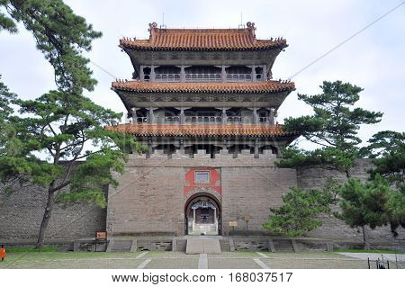 Long'en Gate of Fuling Tomb of Qing Dynasty, Shenyang, China. Fuling Tomb is the UNESCO World Heritage Site since 2004. Fuling Tomb (East Tomb) is the mausoleum of Nurhaci.
