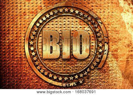 bio, 3D rendering, grunge metal stamp