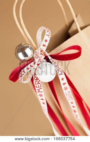 Gift Bag With Merry Christmas Ribbon