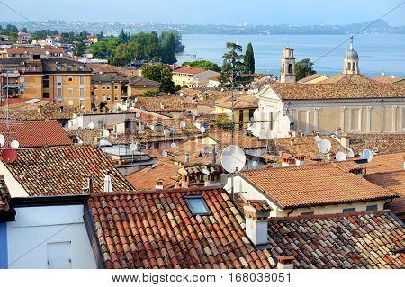 Beautiful Aerial Views Of Desenzano Del Garda, A Town And Comune In The Province Of Brescia, In Lomb