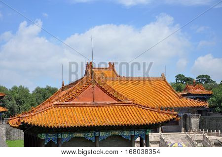 Fuling Tomb of Qing Dynasty, Shenyang, China. Fuling Tomb is a UNESCO World Heritage Site since 2004. Fuling Tomb (East Tomb) is the mausoleum of Nurhaci.