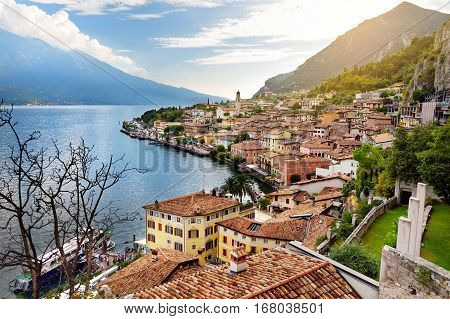 Beautiful Views Of Limone Sul Garda, A Small Town And Comune In The Province Of Brescia, In Lombardy