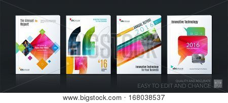 Business vector template mega set. Brochure layout, cover modern design annual report, magazine, flyer in A4 with colourful geometric shapes for business with abstract texture background.
