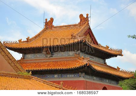Daming Tower of Fuling Tomb of Qing Dynasty, Shenyang, China. Fuling Tomb (East Tomb) is the mausoleum of Nurhaci of the Qing Dynasty. Fuling Tomb is a UNESCO World Heritage Site.