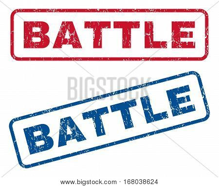 Battle text rubber seal stamp watermarks. Vector style is blue and red ink caption inside rounded rectangular shape. Grunge design and dust texture. Blue and red emblems.