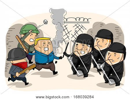 Illustration Featuring a Confrontation Between a Group of Rioters and the Riot Police
