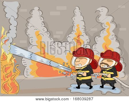 Illustration of a Pair of Firemen Working Hard to Put Out a Raging Fire