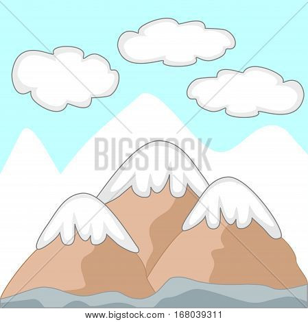 Illustration of three mountains with snow caps, clouds and larger mountains in the background