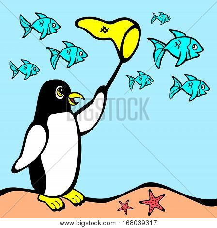 Illustration of penguin with a net underwater chasing fish