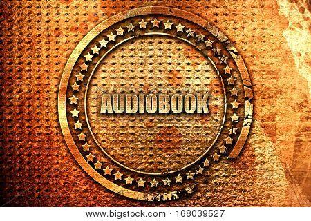 audiobook, 3D rendering, grunge metal stamp