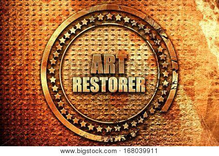 art restorer, 3D rendering, grunge metal stamp