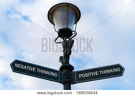 Negative Thinking Versus Positive Thinking Directional Signs On Guidepost