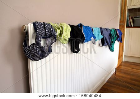 Laundry or washing drying on a domestic radiator